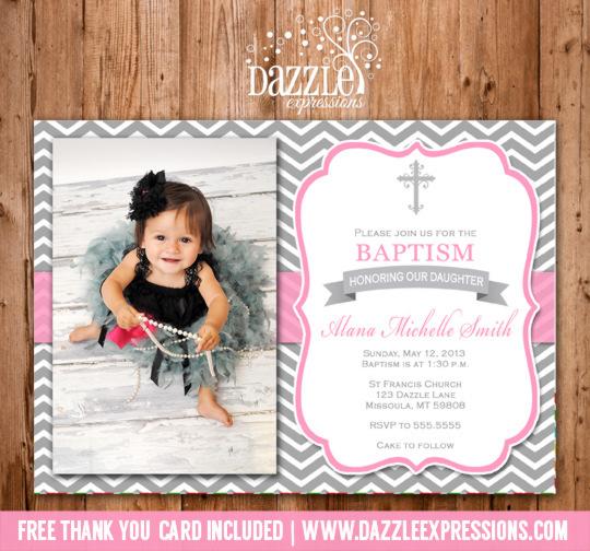 Printable Girl Baptism Or Christening Invitation Pink
