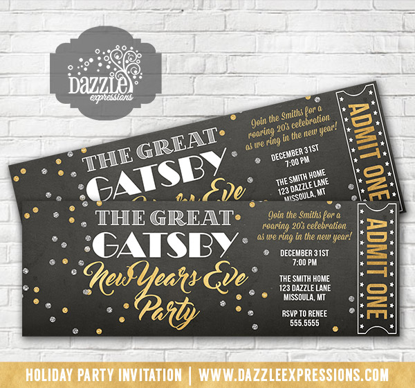 Printable Great Gatsby Inspired New Years Eve Party Ticket