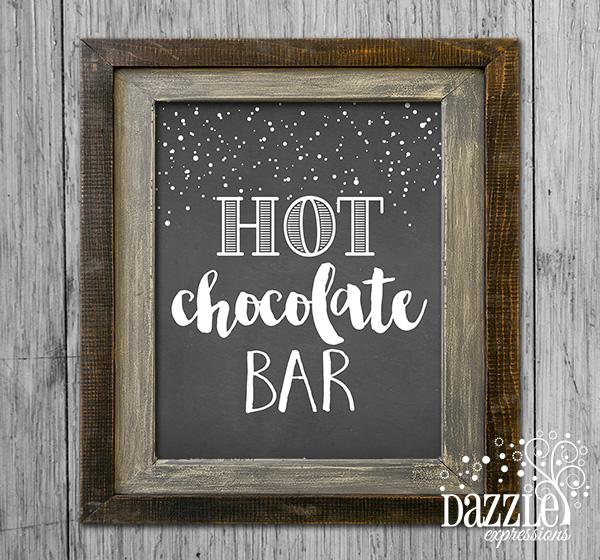 Printable Hot Chocolate Bar Sign Wall Art Birthday Or