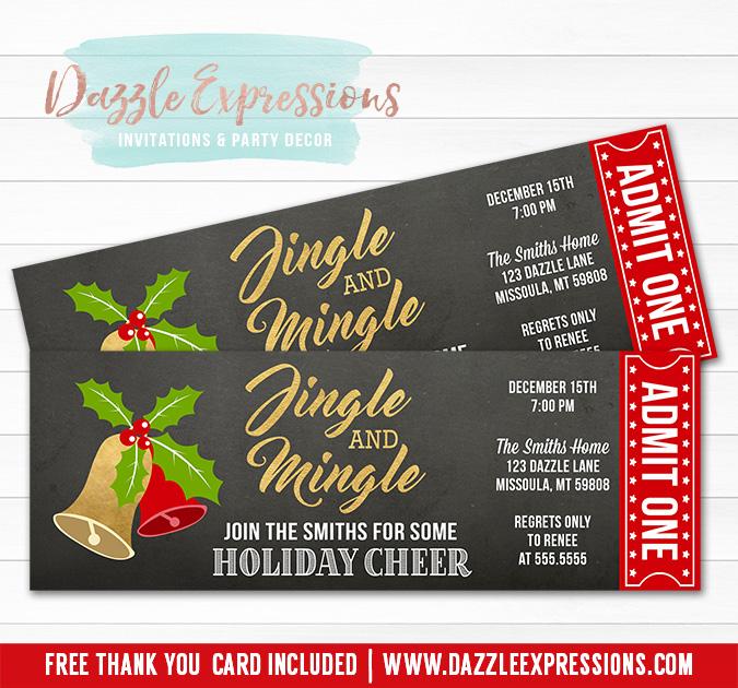 Printable Jingle And Mingle Holiday Party Ticket