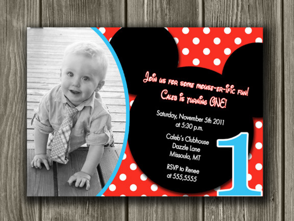 Printable Mickey Mouse Birthday Invitation Boy First