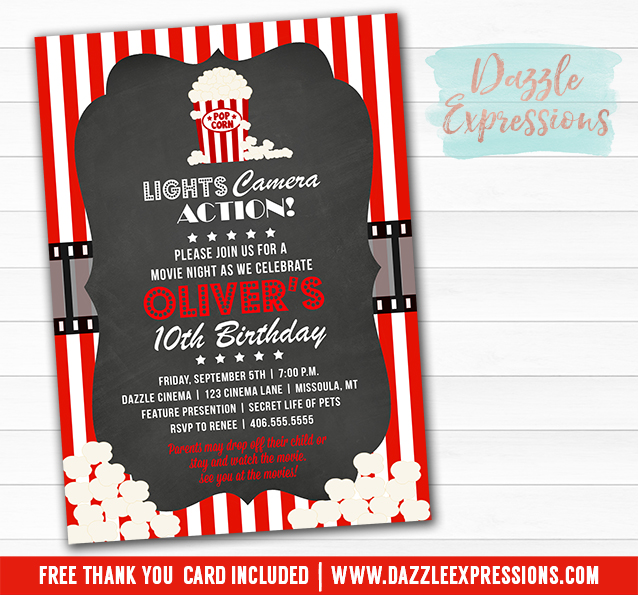 Printable Chalkboard Movie Night Birthday Invitation