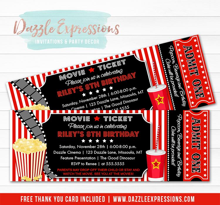 Printable Movie Ticket Birthday Invitation Movie Night