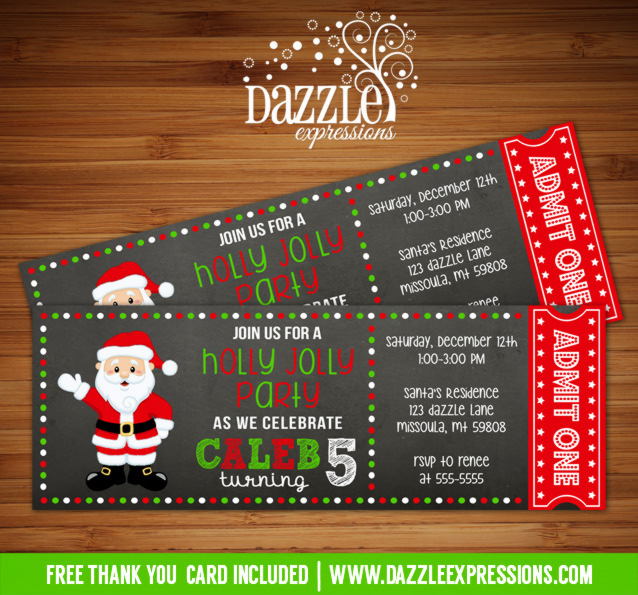 Printable Santa Chalkboard Ticket Birthday Invitation