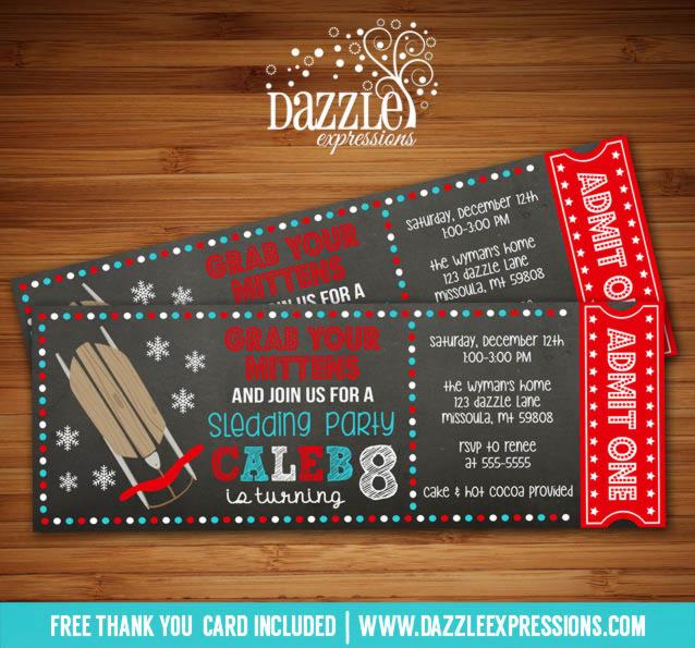 Printable Chalkboard Sledding Ticket Birthday Invitation