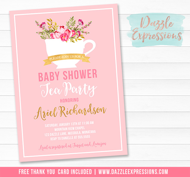 Printable Fl Tea Party Baby Shower Invitation It S A Cup Bridal