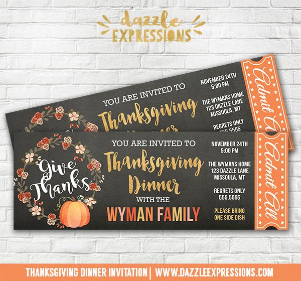 Printable Thanksgiving Dinner Chalkboard Ticket Invitation