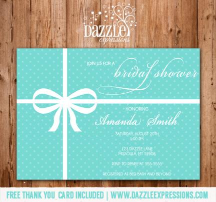 Printable Tiffany Blue Bridal Shower Invitation