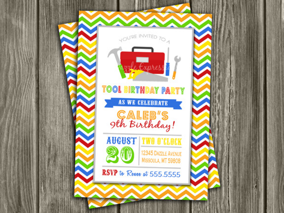 Printable Tool Birthday Invitation Mechanic Carpenter