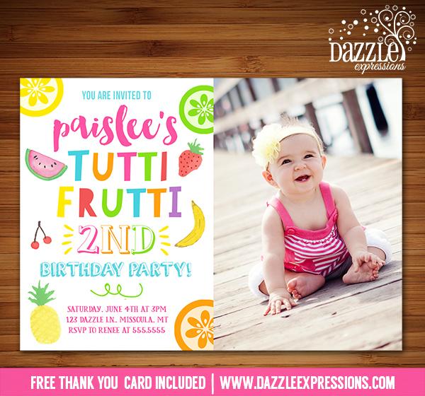 Printable Tutti Frutti Birthday Invitation Tootie