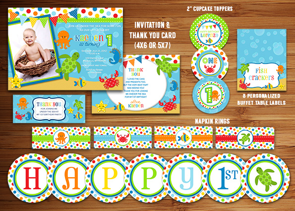 Printable Under The Sea Birthday Party Package Decorations