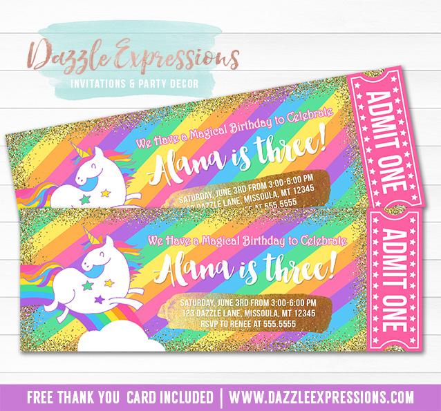 Printable Rainbow Unicorn Gold Glitter Ticket Birthday