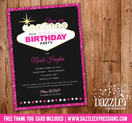 Printable Glitter Las Vegas Casino Birthday Invitation