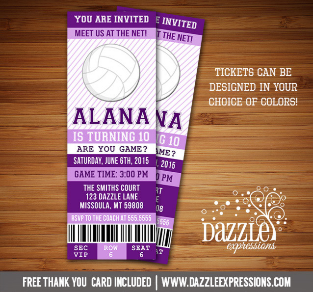 Printable Volleyball Ticket Birthday Invitation Sports