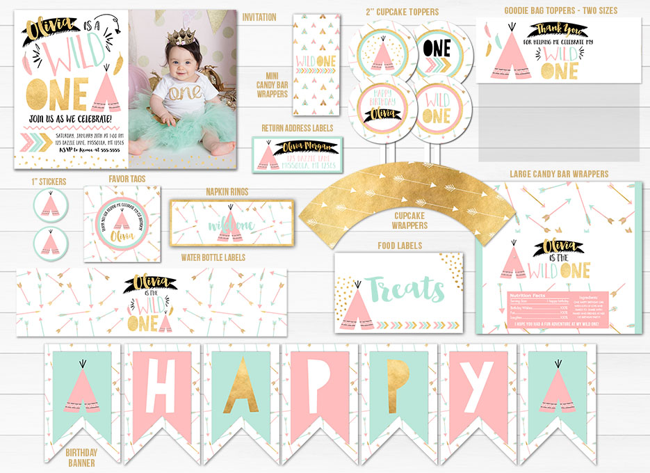 Printable Pink Mint And Gold Wild One Tribal Birthday