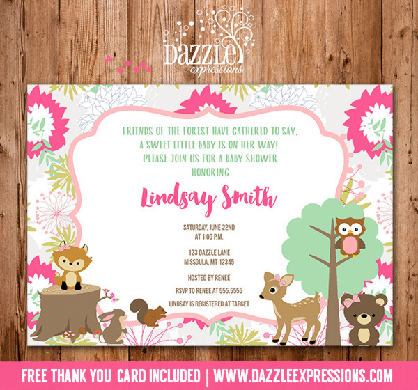 woodland baby shower invitations, Baby shower invitations