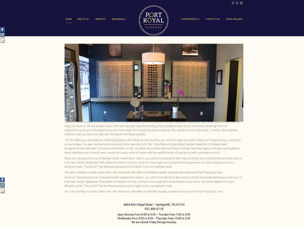 Port Royal Eyecare website by dba designs & communications