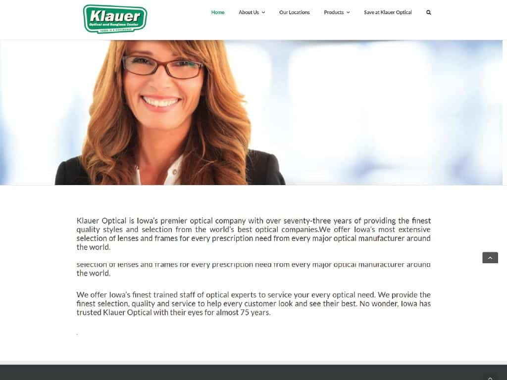 Klauer Optical website by dba designs & communications - Denver, CO