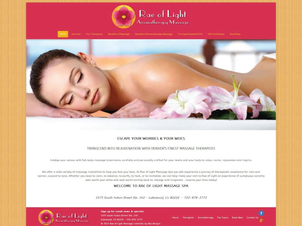 Rae of Light Spa website by dba designs & communications - Denver, CO