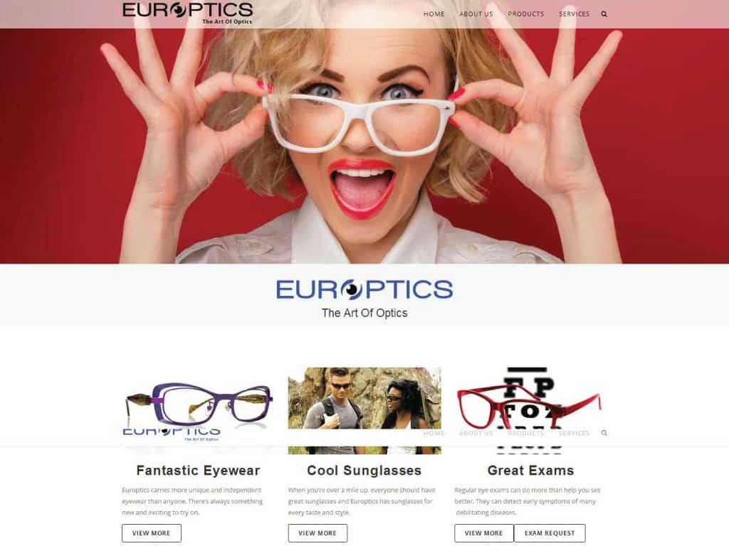 Europtics website by dba designs & communications - Denver, CO