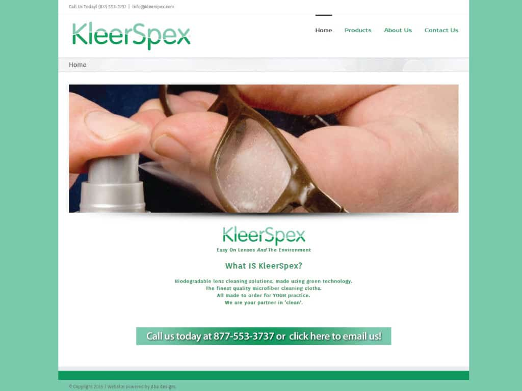 Kleerspex website by dba designs & communications - Denver, CO