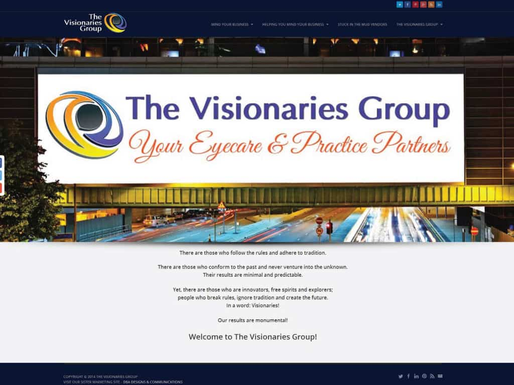 The Visionaries Group website by dba designs & communications - Denver, CO