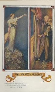 Frontispiece showing Violet Strange impersonating the ghost of a murdered woman