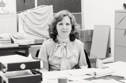 Melissa Carr at her desk, circa late '70s