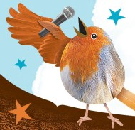 illustrated bird singing into microphone