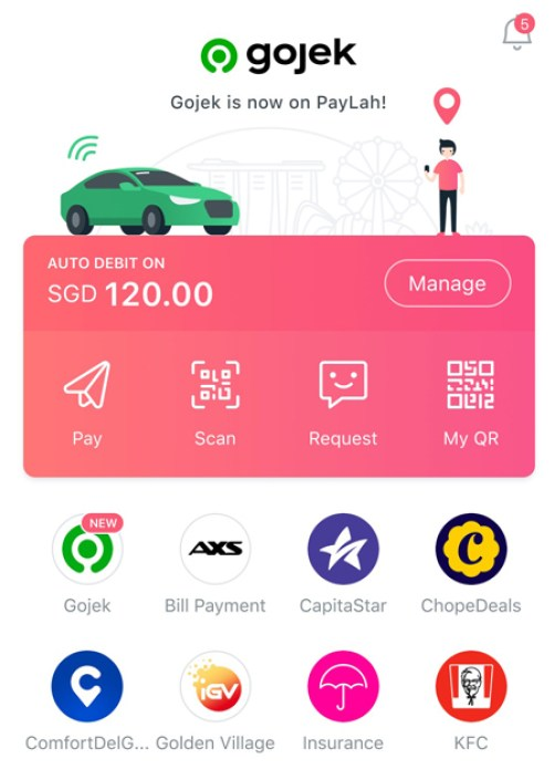 Gojek rides directly and seamlessly on DBS PayLah!