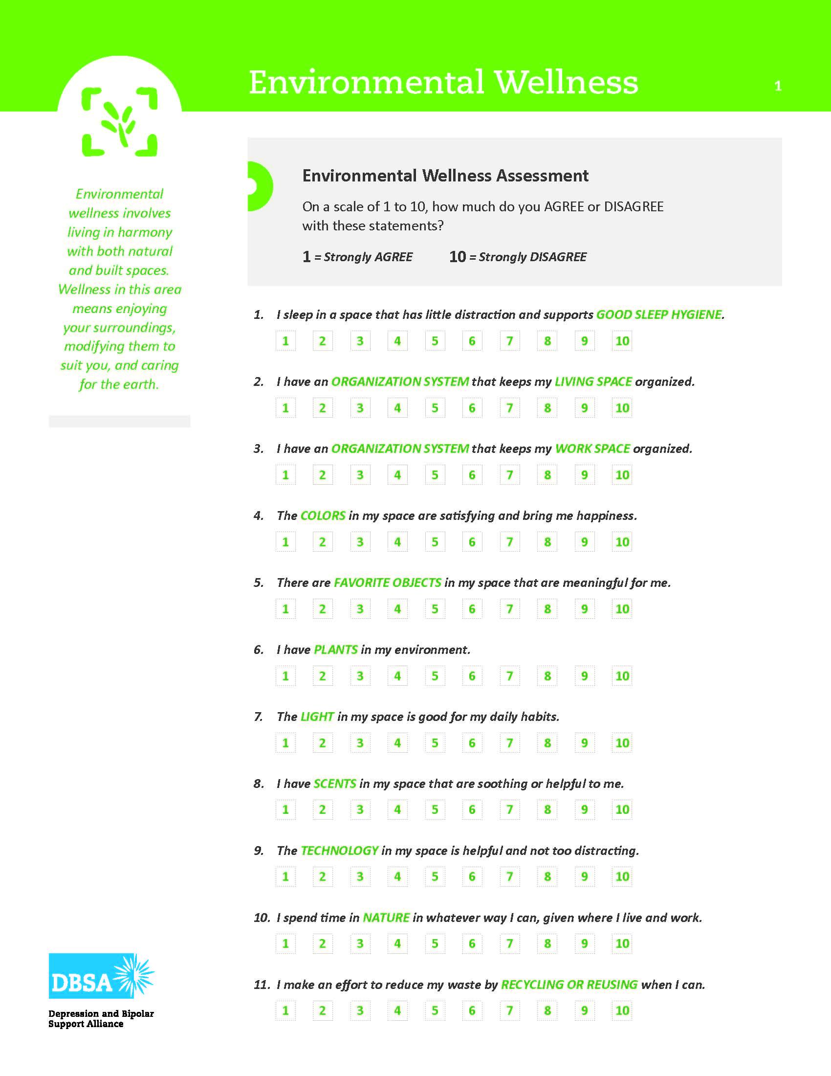 Dbsa Wellness Wheel Your Environmental Wellness