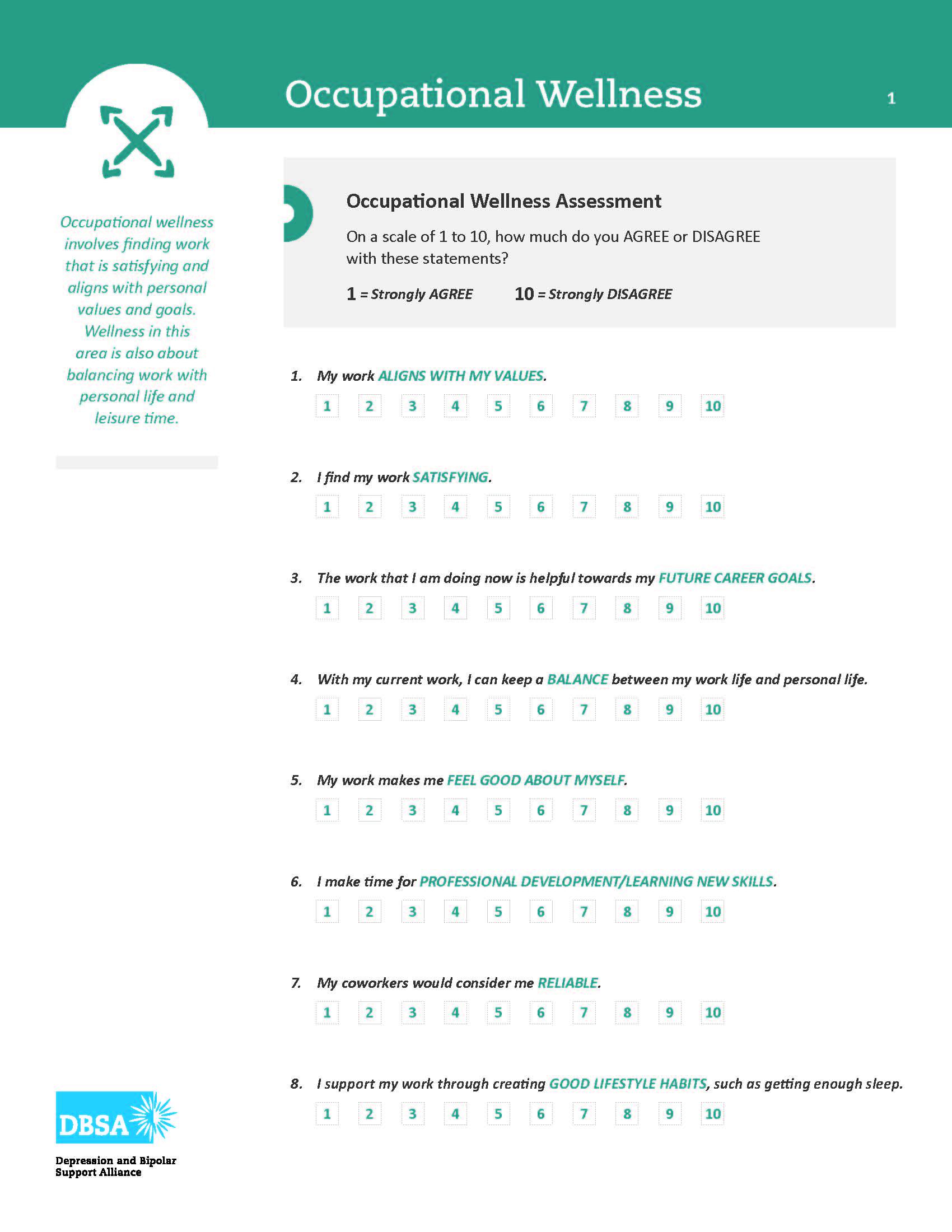 Dbsa Wellness Wheel Your Occupational Wellness