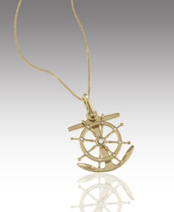 Ship's Wheel and Anchor Pendant