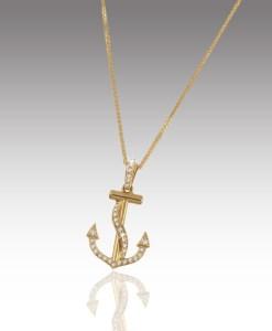 Diamond Fouled Anchor Pendant