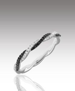 Micro Diamond Twist Ring - Black and White