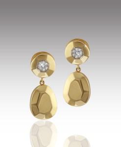Diamond Button Drop Earrings