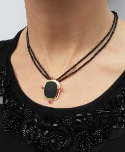 Black Druzy and Spinel Pendant