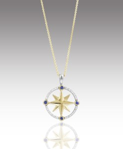 Diamond and Sapphire Compass Rose Pendant - small