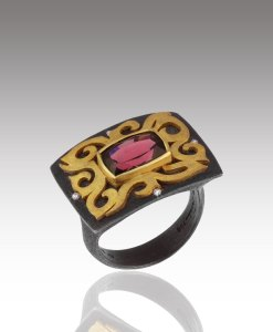 Garnet Scroll Ring