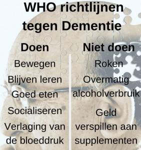"""WHO """"In 30 jaar zal het aantal mensen met dementie verdrievoudigen""""1"""