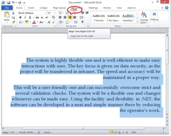 Change Align in text document in Word 2010