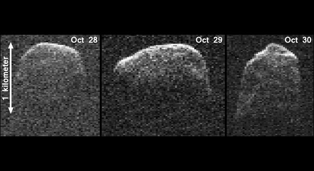 This composite image of asteroid 2007 PA8 was obtained using data taken by NASA's 230-foot-wide (70-meter) Deep Space Network antenna at Goldstone, Calif. The composite incorporates images generated from data collected at Goldstone on Oct. 28, 29, and 30, 2012. CREDIT: NASA/JPL-Caltech/Gemini