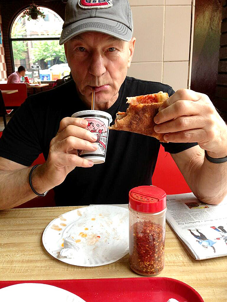 "Sir Patrick Stewart, 72, tweeted a photo of himself eating his ""first ever"" slice of New York pizza on May 29. Credit: Courtesy of Patrick Stewart"