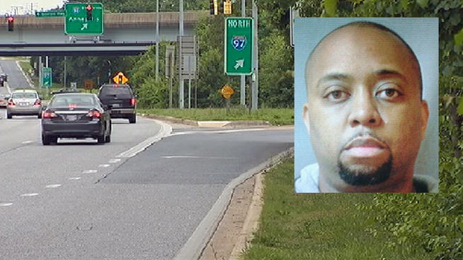 Road Rage Murder: Joseph Walker (inset) has been charged in the shooting death of 36-year-old Joseph Harvey Jr. on a Maryland highway.