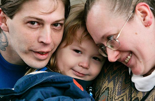 In this 2008 photo, Heath Campbell, left, with his now ex-wife, Deborah, and son Adolf Hitler Campbell, then 3, pose in Easton, Pa. The father of four children says of little Adolf's placement with another family: 'They call it legal adoption — I call it black marketing.'