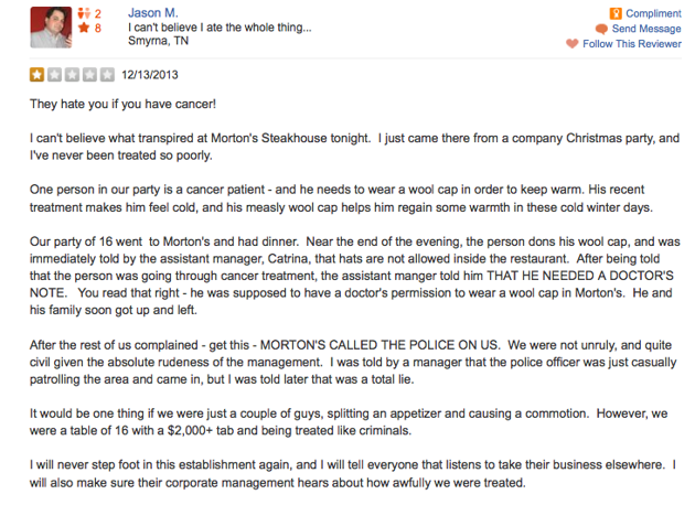 Morton's Steakhouse apologizes