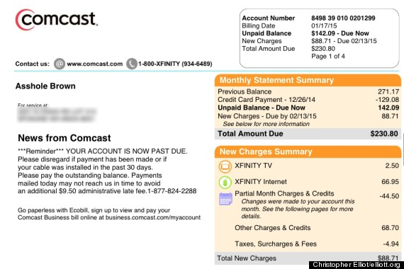 """Comcast apologizes to customer For Call Him And """"*******"""" On Bill"""