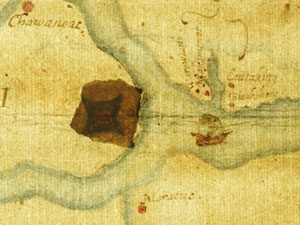 """John White's """"La Virginea Pars"""" map with secret marking© The Trustees of the British Museum"""