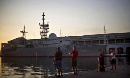 Navy ship aground, Russian Vessel Docks On Eve of US-Cuba Talks