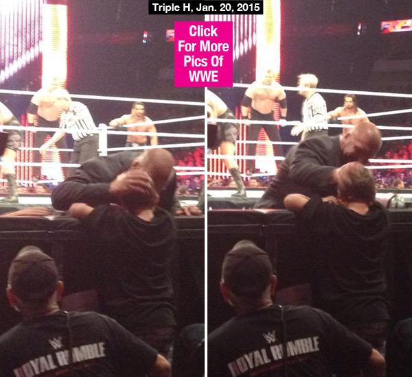 Triple H breaks character